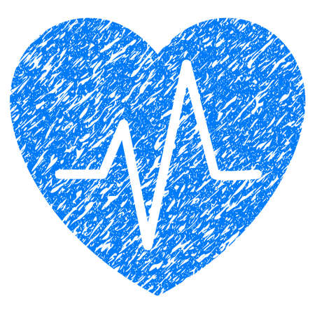 Grunge Heart EKG icon with grunge design and unclean texture. Unclean raster blue pictogram for rubber seal stamp imitations and watermarks. Draft sticker symbol.