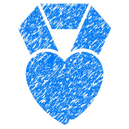 wedding couple: Grunge Heart Award icon with grunge design and scratched texture. Unclean raster blue pictogram for rubber seal stamp imitations and watermarks. Draft sticker symbol.