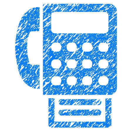 Grunge Fax icon with grunge design and dirty texture. Unclean raster blue pictogram for rubber seal stamp imitations and watermarks. Draft emblem symbol.