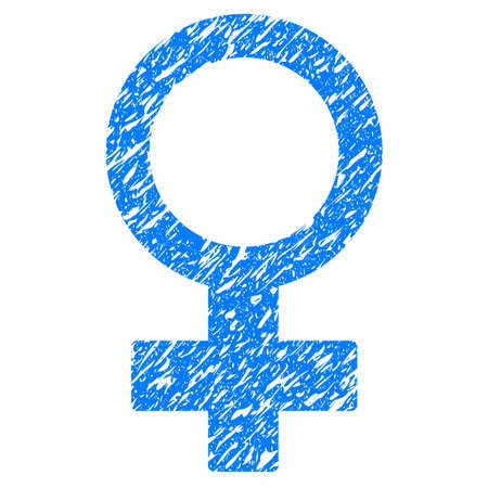 Grunge Female Symbol icon with grunge design and dirty texture. Unclean raster blue pictogram for rubber seal stamp imitations and watermarks. Draft sign symbol.