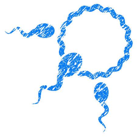 Grunge fertilización icono con el diseño del grunge y la textura sucia. Pictograma azul impreciso del raster para las imitaciones y las marcas de agua del sello del sello de goma. Símbolo de signo de borrador.