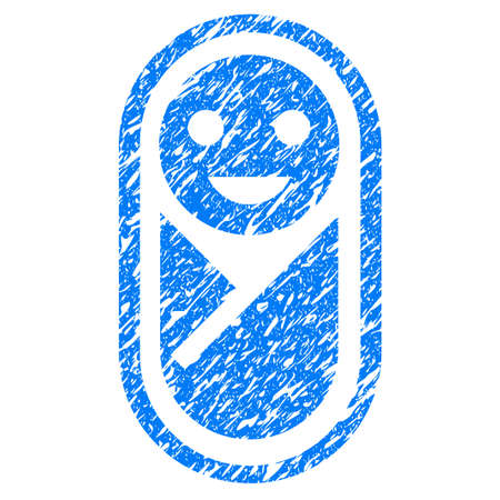 scratched: Grunge Infant icon with grunge design and dust texture. Unclean raster blue pictogram for rubber seal stamp imitations and watermarks. Draft emblem symbol.