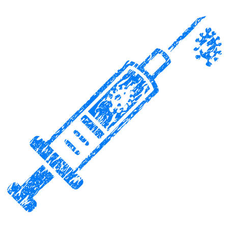 stirrer: Grunge Infection Injection icon with grunge design and unclean texture. Unclean raster blue pictogram for rubber seal stamp imitations and watermarks. Draft sticker symbol. Stock Photo