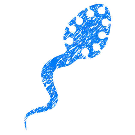 infectious: Grunge Infectious Microbe icon with grunge design and scratched texture. Unclean raster blue pictogram for rubber seal stamp imitations and watermarks. Draft emblem symbol.