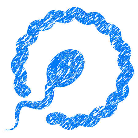 Grunge Insemination icon with grunge design and dirty texture. Unclean raster blue pictogram for rubber seal stamp imitations and watermarks. Draft sign symbol.