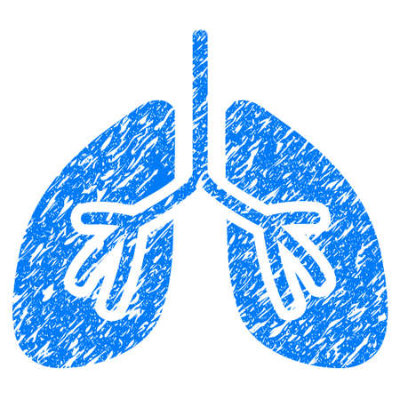 Grunge Lungs icon with grunge design and unclean texture. Unclean raster blue pictogram for rubber seal stamp imitations and watermarks. Draft emblem symbol. Stock Photo