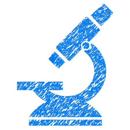 grungy: Grunge Microscope icon with grunge design and dust texture. Unclean raster blue pictogram for rubber seal stamp imitations and watermarks. Draft emblem symbol.