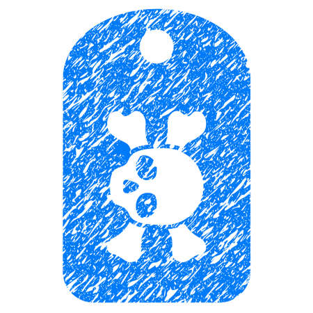 Grunge Morgue Mark icon with grunge design and dust texture. Unclean raster blue pictogram for rubber seal stamp imitations and watermarks. Draft sticker symbol. Stock Photo