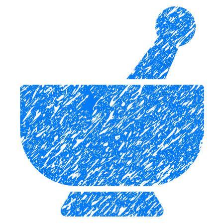 グランジ デザインと汚れたテクスチャ グランジ モルタル アイコン。ゴム製シール切手の模造品と透かしの汚れたラスター ブルー ピクト。ドラフ 写真素材
