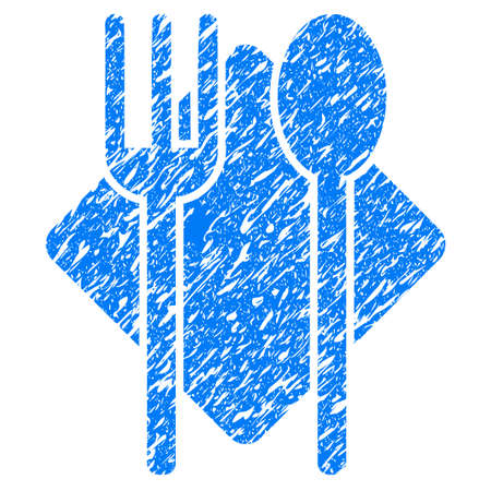 grunge cutlery: Grunge Nutrition icon with grunge design and dust texture. Unclean raster blue pictogram for rubber seal stamp imitations and watermarks. Draft sign symbol.