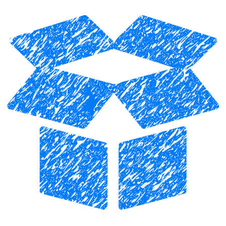 grungy: Grunge Open Box icon with grunge design and dust texture. Unclean raster blue pictogram for rubber seal stamp imitations and watermarks. Draft emblem symbol.