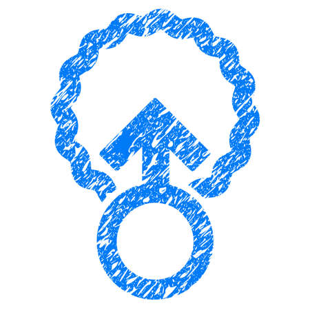 Grunge Ovum Penetration icon with grunge design and dust texture. Unclean raster blue pictogram for rubber seal stamp imitations and watermarks. Draft sign symbol. Stock Photo