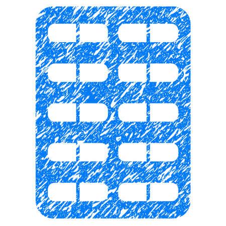 Grunge pil blister pictogram met grunge ontwerp en vuile textuur. Onzuiver rasterblauw pictogram voor rubberen zegel stempelimitaties en watermerken. Concept embleem symbool.