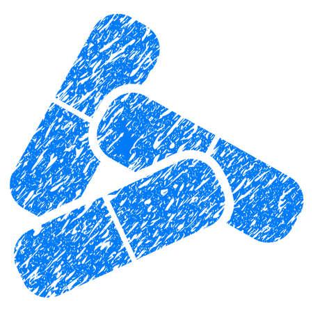 Grunge pillen pictogram met grunge ontwerp en vuile textuur. Onzuiver rasterblauw pictogram voor rubberen zegel stempelimitaties en watermerken. Conceptsticker-symbool. Stockfoto