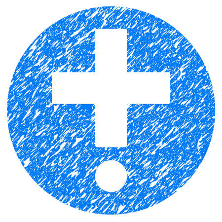 grungy: Grunge Pharmacy icon with grunge design and dirty texture. Unclean raster blue pictogram for rubber seal stamp imitations and watermarks. Draft emblem symbol. Stock Photo