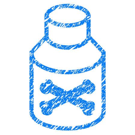 Grunge Poison Bottle icon with grunge design and dust texture. Unclean raster blue pictogram for rubber seal stamp imitations and watermarks. Draft emblem symbol.