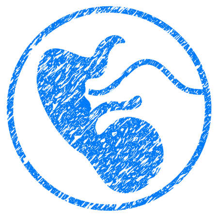 Grunge Pregnancy icon with grunge design and scratched texture. Unclean raster blue pictogram for rubber seal stamp imitations and watermarks. Draft sign symbol.