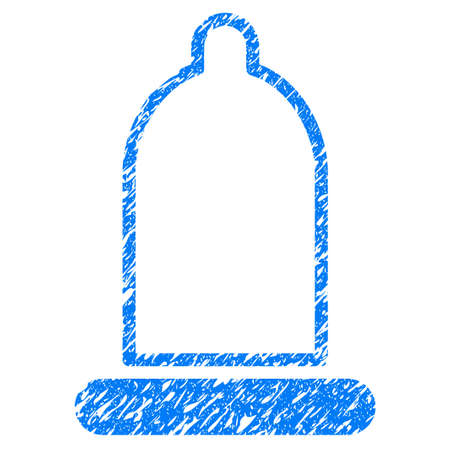 grungy: Grunge Preservative icon with grunge design and unclean texture. Unclean raster blue pictogram for rubber seal stamp imitations and watermarks. Draft sticker symbol.