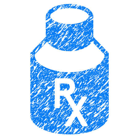 Grunge Receipt Vial icon with grunge design and scratched texture. Unclean raster blue pictogram for rubber seal stamp imitations and watermarks. Draft sticker symbol.