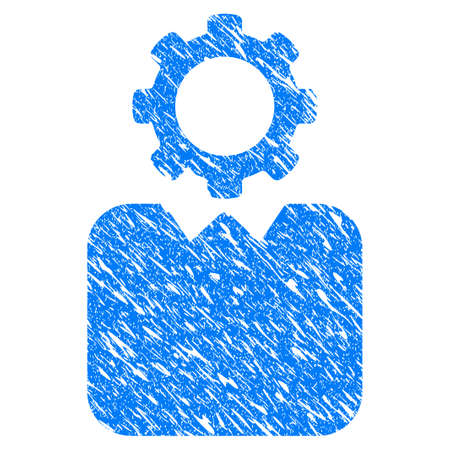 bureaucrat: Grunge Bureaucrat icon with grunge design and dust texture. Unclean blue pictogram for rubber seal stamp imitations and watermarks. Draft emblem symbol.