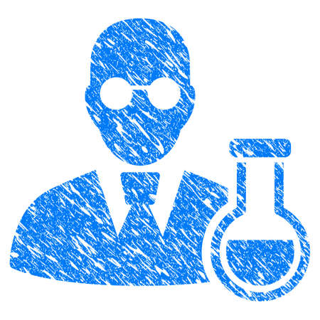 rubber tube: Grunge Chemist icon with grunge design and dust texture. Unclean vector blue pictogram for rubber seal stamp imitations and watermarks. Draft emblem symbol.