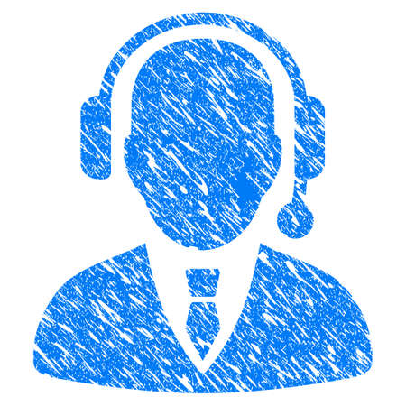 dispatcher: Grunge Dispatcher icon with grunge design and dirty texture. Unclean vector blue pictogram for rubber seal stamp imitations and watermarks. Draft sign symbol.