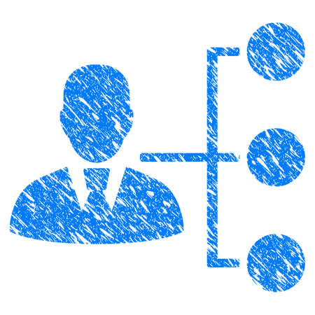 Grunge Distribution Manager icon with grunge design and unclean texture. Unclean blue pictogram for rubber seal stamp imitations and watermarks. Draft sign symbol.