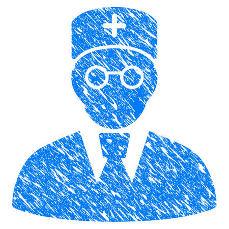 Grunge Doctor icon with grunge design and unclean texture. Unclean blue pictogram for rubber seal stamp imitations and watermarks. Draft sticker symbol.