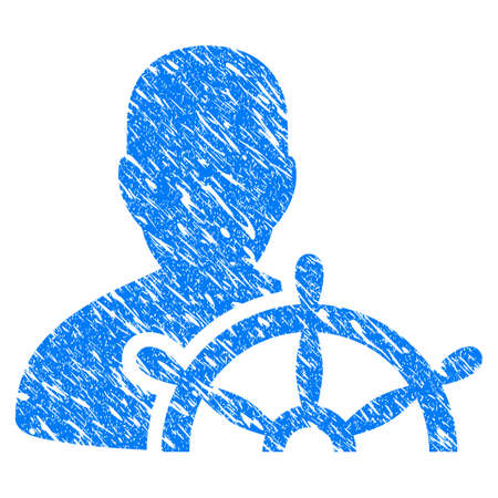 captain cap: Grunge Ship Captain icon with grunge design and dust texture. Unclean vector blue pictogram for rubber seal stamp imitations and watermarks. Draft emblem symbol.