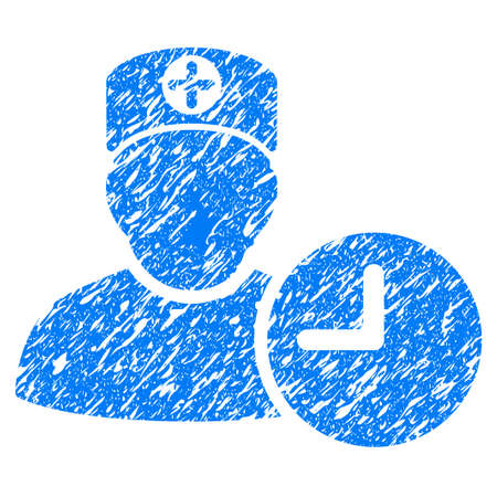 Grunge Doctor Schedule Clock icon with grunge design and unclean texture. Unclean raster blue pictogram for rubber seal stamp imitations and watermarks. Draft sticker symbol.