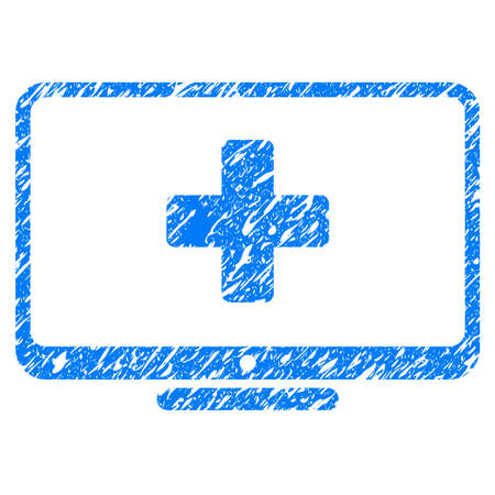 scratched: Grunge Medical Monitor icon with grunge design and dust texture. Unclean raster blue pictogram for rubber seal stamp imitations and watermarks. Draft sticker symbol.