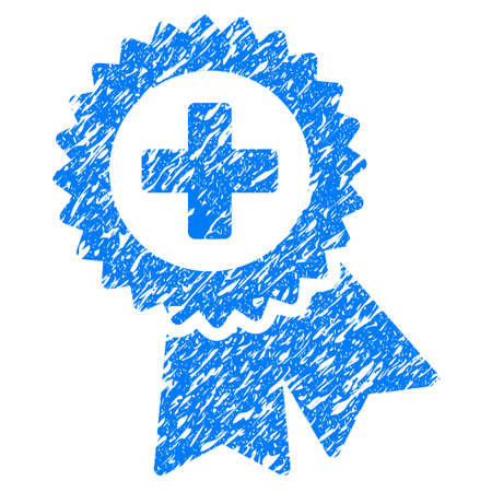grungy: Grunge Medical Quality Seal icon with grunge design and dirty texture. Unclean raster blue pictogram for rubber seal stamp imitations and watermarks. Draft sign symbol. Stock Photo
