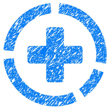 grungy: Grunge Health Care Diagram icon with grunge design and scratched texture. Unclean raster blue pictogram for rubber seal stamp imitations and watermarks. Draft emblem symbol. Stock Photo
