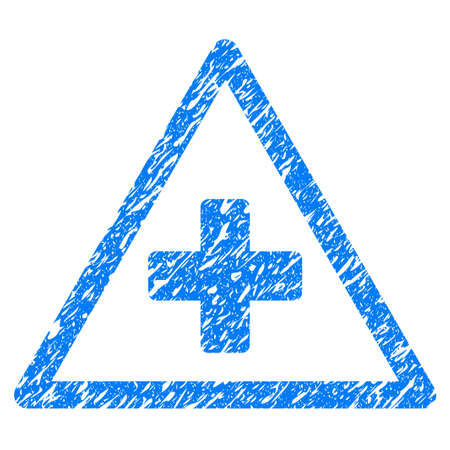 scratched: Grunge Health Warning icon with grunge design and scratched texture. Unclean raster blue pictogram for rubber seal stamp imitations and watermarks. Draft sign symbol.
