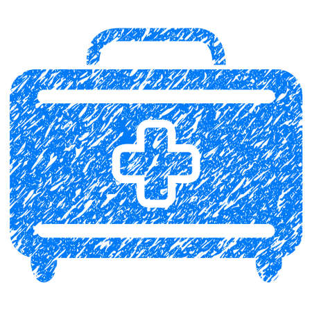 Grunge Medical Baggage icon with grunge design and scratched texture. Unclean raster blue pictogram for rubber seal stamp imitations and watermarks. Draft emblem symbol.