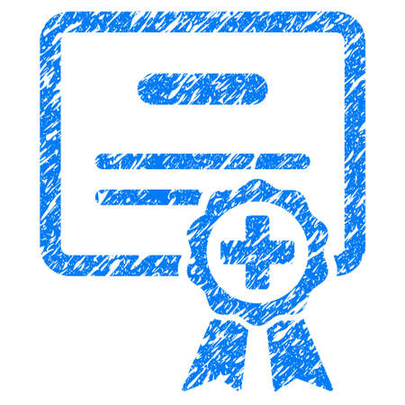 grungy: Grunge Medical Certificate icon with grunge design and dirty texture. Unclean raster blue pictogram for rubber seal stamp imitations and watermarks. Draft sticker symbol.