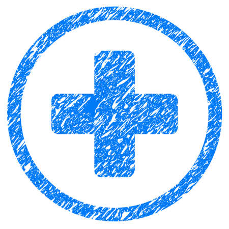 grungy: Grunge Rounded Plus icon with grunge design and scratched texture. Unclean raster blue pictogram for rubber seal stamp imitations and watermarks. Draft sign symbol. Stock Photo