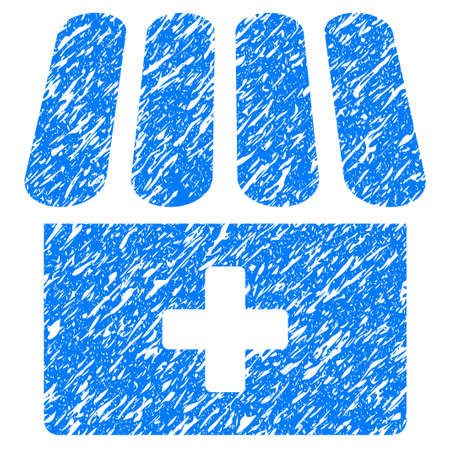 grungy: Grunge Drugstore icon with grunge design and dust texture. Unclean raster blue pictogram for rubber seal stamp imitations and watermarks. Draft emblem symbol.