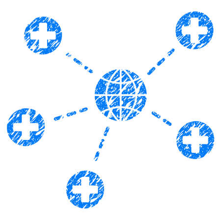Grunge Global Medical Relations icon with grunge design and unclean texture. Unclean raster blue pictogram for rubber seal stamp imitations and watermarks. Draft emblem symbol.