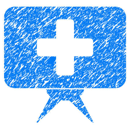 scratched: Grunge Health Care Presentation icon with grunge design and unclean texture. Unclean raster blue pictogram for rubber seal stamp imitations and watermarks. Draft sticker symbol. Stock Photo