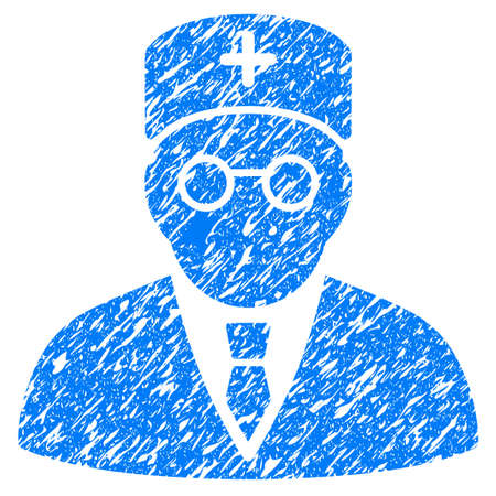 scratched: Grunge Main Physician icon with grunge design and unclean texture. Unclean raster blue pictogram for rubber seal stamp imitations and watermarks. Draft emblem symbol.