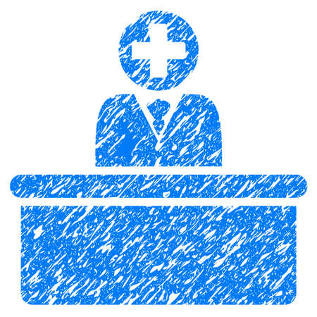 bureaucrat: Grunge Medical Bureaucrat icon with grunge design and dirty texture. Unclean raster blue pictogram for rubber seal stamp imitations and watermarks. Draft sign symbol.
