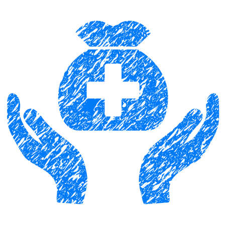 Grunge Medical Fund Care Hands icon with grunge design and unclean texture. Unclean raster blue pictogram for rubber seal stamp imitations and watermarks. Draft emblem symbol. Stock Photo