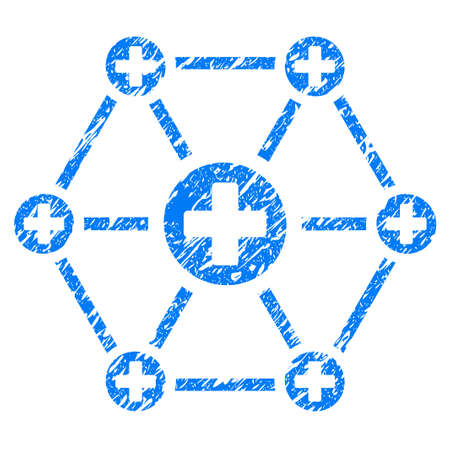 Grunge Medical Network icon with grunge design and dust texture. Unclean raster blue pictogram for rubber seal stamp imitations and watermarks. Draft sticker symbol.