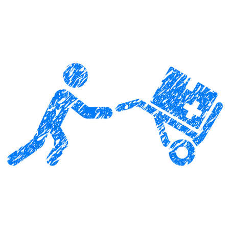 Grunge Medical Shopping Cart icon with grunge design and unclean texture. Unclean raster blue pictogram for rubber seal stamp imitations and watermarks. Draft sign symbol.
