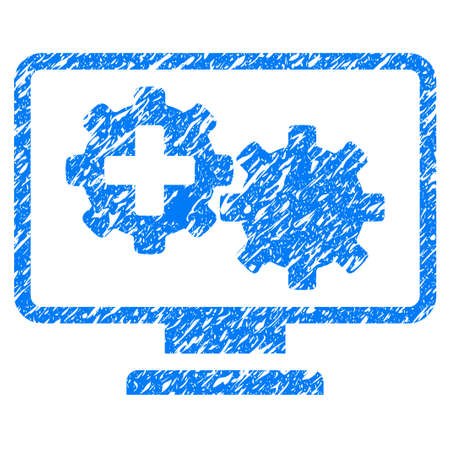 scratched: Grunge Medical Process Gears Monitoring icon with grunge design and scratched texture. Unclean raster blue pictogram for rubber seal stamp imitations and watermarks. Draft sign symbol. Stock Photo