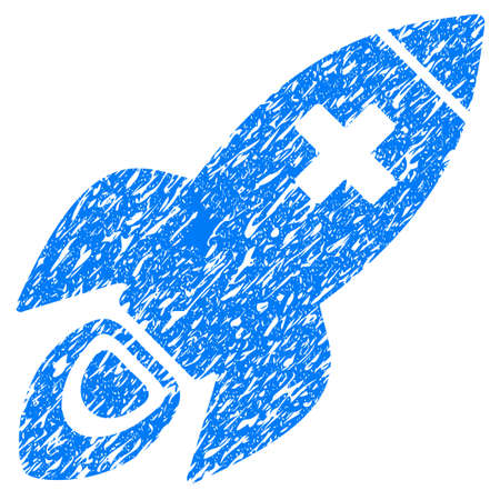 Grunge Medical Rocket icon with grunge design and dust texture. Unclean raster blue pictogram for rubber seal stamp imitations and watermarks. Draft sign symbol.