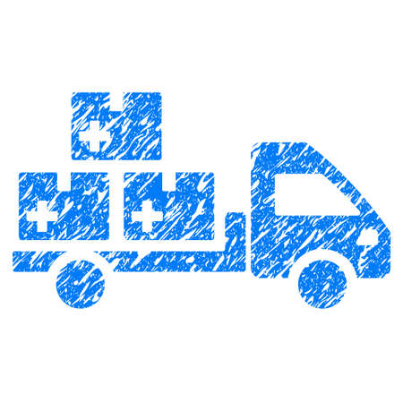 Grunge Medication Delivery icon with grunge design and dust texture. Unclean raster blue pictogram for rubber seal stamp imitations and watermarks. Draft emblem symbol. Stock Photo