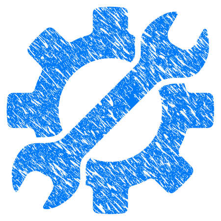 Configure Wrench And Gear icon with grunge design and scratched texture. Unclean vector blue pictogram for rubber seal stamp imitations and watermarks.