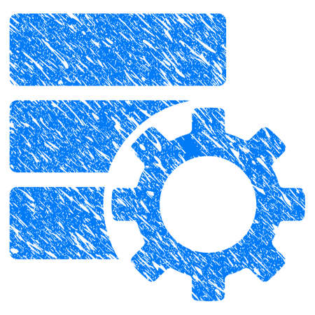scratched: Grunge database options gear icon. Illustration
